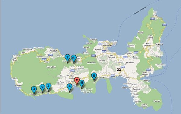 Elba Karte.Die Strände Elbas Camping Village Ville Degli Ulivi Insel Elba